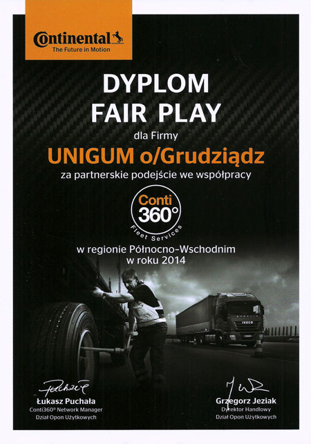 Nagroda Continental Fair Play dla Point S UNIGUM Grudziadz